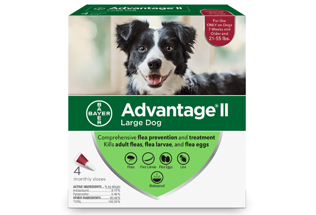 Advantage® II (imidacloprid + pyriproxyfen) for Dogs packaging.