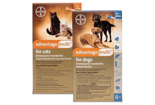 Advantage Multi (imidacloprid + moxidectin) for dogs and cats packaging.