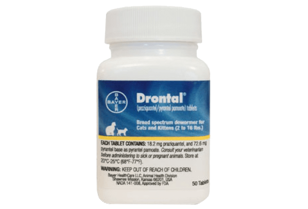 Drontal® (praziquantel/pyrantel pamoate) Tablets pill bottle.