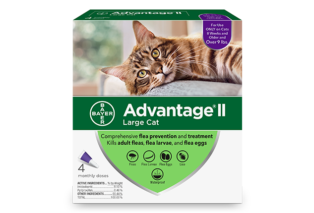 Advantage® II (imidacloprid + pyriproxyfen) for Cats packaging.