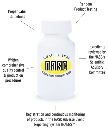 NASC quality seal is founded on five factors: proper label guidelines, product testing, quality control, production procedures, and ingredients reviewed by the NASC's Scientific Advisory Committee.